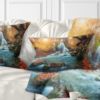 Fast Flowing Fall River in Forest Landscape Photography Pillow Size: 12 x 20, Product Type: Lumbar Pillow