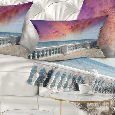 Stone Balcony with Ocean View Seashore Photo Pillow Size: 12 x 20, Product Type: Lumbar pillow