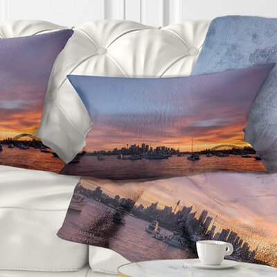 Ferry in Sydney Harbor at Sunset Landscape Printed Pillow Size: 12 x 20, Product Type: Lumbar Pillow