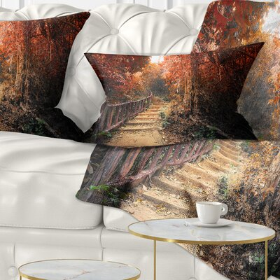 Stairway Through Fall Forest Landscape Photography Pillow Size: 12 x 20, Product Type: Lumbar Pillow