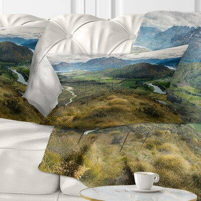 Fields and Hills in New Zealand Landscape Photography Pillow Size: 12 x 20, Product Type: Lumbar Pillow