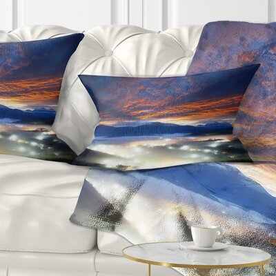 Fiery Clouds and Lit up Villages Landscape Photo Pillow Size: 12 x 20, Product Type: Lumbar Pillow