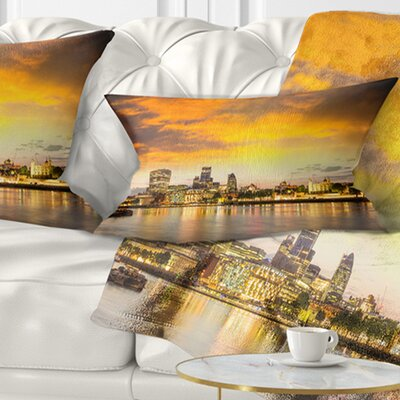 Financial District of London at Twilight Cityscape Pillow Size: 12 x 20, Product Type: Lumbar Pillow