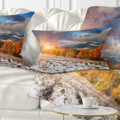 First Snow in Carpathian Mountains Landscape Photography Pillow Size: 12 x 20, Product Type: Lumbar Pillow