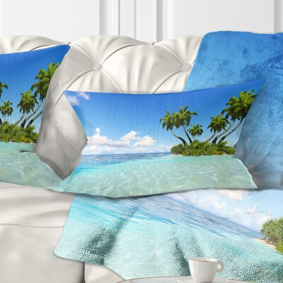 Corals Island under Sky Seascape Pillow Size: 12 x 20, Product Type: Lumbar Pillow