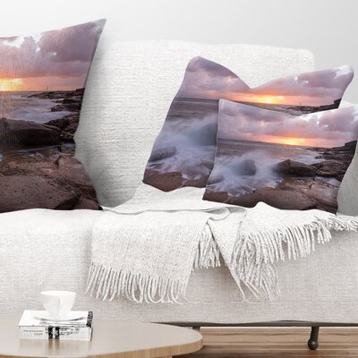 Stormy Waves in Beautiful Australia Beach Seashore Pillow Size: 12 x 20, Product Type: Lumbar pillow
