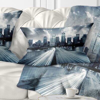 City with Tint Cityscape Pillow Size: 12 x 20, Product Type: Lumbar Pillow