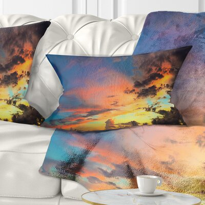 Cloudy Sky at Sunset Panorama Skyline Photography Pillow Size: 12 x 20, Product Type: Lumbar Pillow