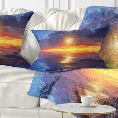 Cloudy Sunset Reflection in Lake Cityscape Pillow Size: 12 x 20, Product Type: Lumbar Pillow