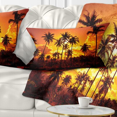 Coconut Palms Against Sky Landscape Photography Pillow Size: 12 x 20, Product Type: Lumbar Pillow
