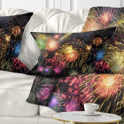 Fireworks at Night Sky Skyline Photography Pillow Size: 12 x 20, Product Type: Lumbar Pillow