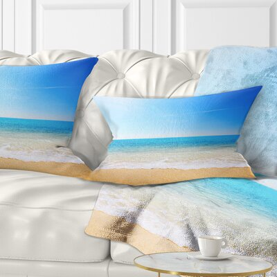 Waves at Tropical Beach Seashore Photo Pillow Size: 12 x 20, Product Type: Lumbar pillow
