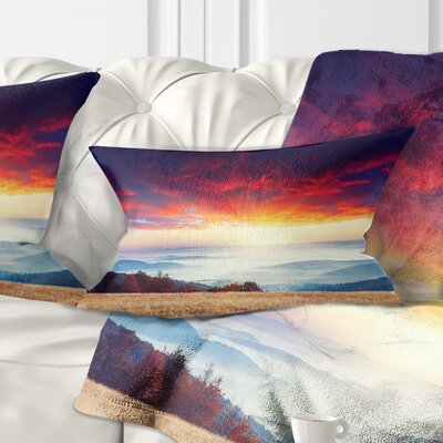 Clouds and Foggy Hills Landscape Photo Pillow Size: 12 x 20, Product Type: Lumbar Pillow