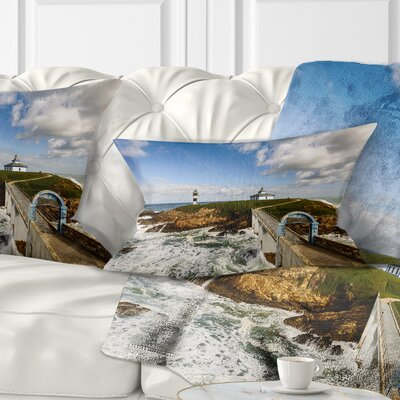 Bright Illa Pancha Lighthouse Seashore Photo Pillow Size: 12 x 20, Product Type: Lumbar Pillow
