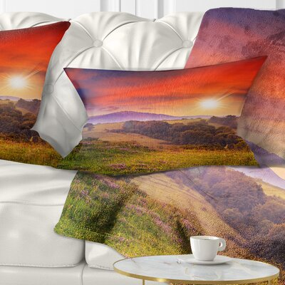 Cold Morning Fog with Hot Sun Landscape Photography Pillow Size: 12 x 20, Product Type: Lumbar Pillow