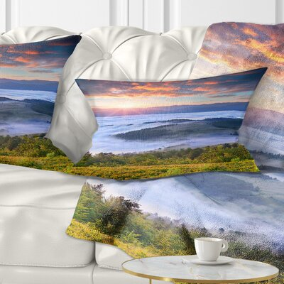 Sunrise over Foggy Waters Landscape Photography Pillow Size: 12 x 20, Product Type: Lumbar Pillow