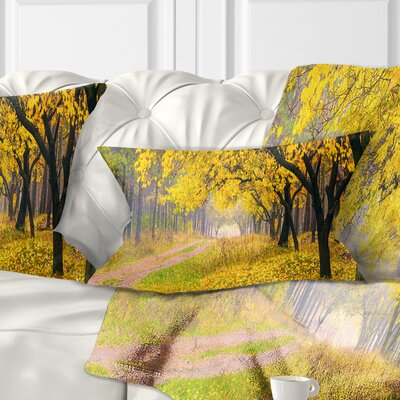 Bright Autumn Forest Landscape Photo Pillow Size: 12 x 20, Product Type: Lumbar Pillow