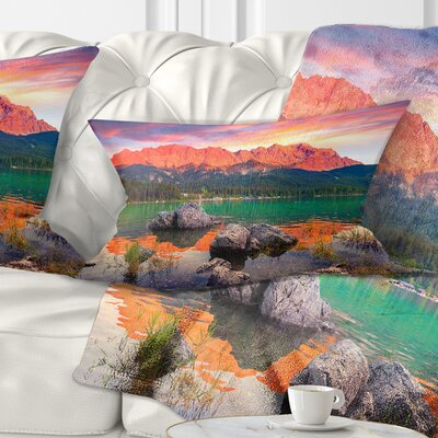 Eibsee Lake Sunset Landscape Photo Pillow Size: 12 x 20, Product Type: Lumbar Pillow