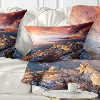 Autumn Sky and Mountains Landscape Photography Pillow Size: 12 x 20, Product Type: Lumbar Pillow