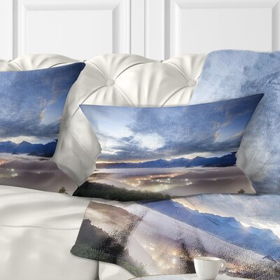 Sky and Lit up Villages Landscape Photo Pillow Size: 12 x 20, Product Type: Lumbar pillow