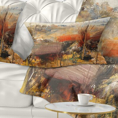 Roofs Heavily Textured Landscape Painting Pillow Size: 12 x 20, Product Type: Lumbar Pillow