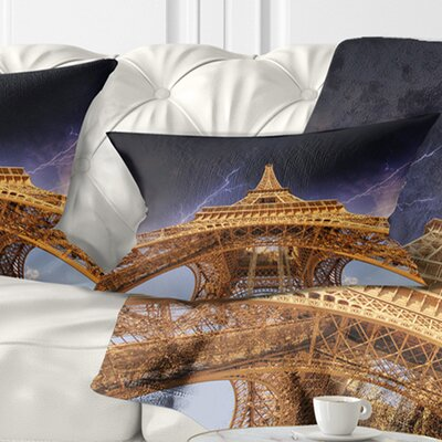 Storm above Eiffel Towerin Paris Cityscape Pillow Size: 12 x 20, Product Type: Lumbar pillow