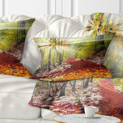 Bright Alpine Forest Landscape Photo Pillow Size: 12 x 20, Product Type: Lumbar Pillow