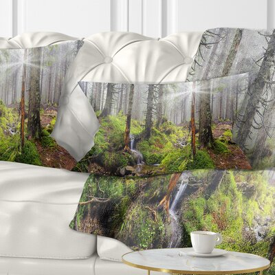 Bright Carpathian Forest Landscape Photography Pillow Size: 12 x 20, Product Type: Lumbar Pillow