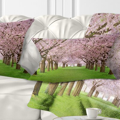 Stunning Cherry Blossoms Plenitude Landscape Printed Pillow Size: 12 x 20, Product Type: Lumbar Pillow
