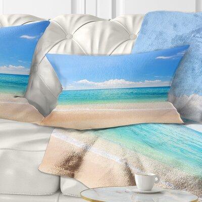 Cloudy Horizon over Beach Seashore Photo Pillow Size: 12 x 20, Product Type: Lumbar Pillow