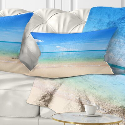 Calm Waves at Tropical Beach Seashore Photo Pillow Size: 12 x 20, Product Type: Lumbar Pillow