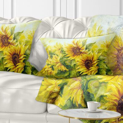 Bright Sunny Sunflowers Floral Painting Pillow Size: 12 x 20, Product Type: Lumbar pillow