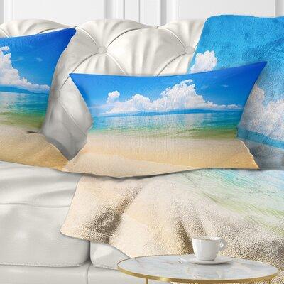 Cloudy Horizon over Sea Seashore Photo Pillow Size: 12 x 20, Product Type: Lumbar Pillow