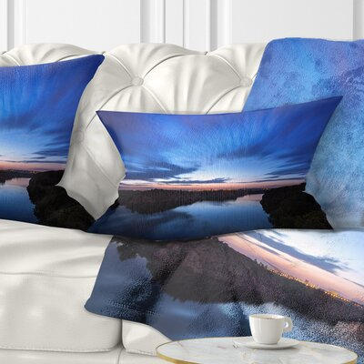 Night Sky with River Landscape Photo Pillow Size: 12 x 20, Product Type: Lumbar pillow