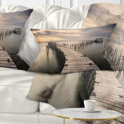 Carrasqueira Old Wooden Pier Seashore Photo Pillow Size: 12 x 20, Product Type: Lumbar Pillow