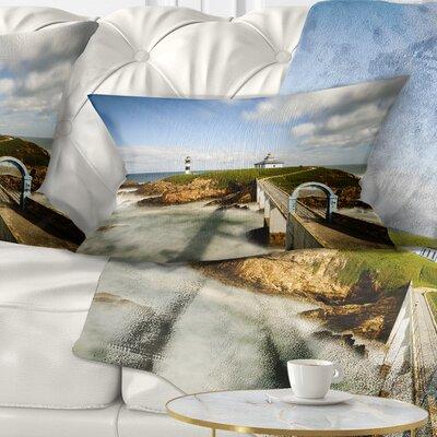 Cloudy Illa Pancha Lighthouse Seashore Photo Pillow Size: 12 x 20, Product Type: Lumbar Pillow
