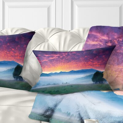 Blood Sky Grass Landscape Photo Pillow Size: 12 x 20, Product Type: Lumbar Pillow
