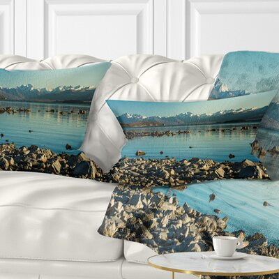 Waters in Rocky Beach Panorama Landscape Printed Pillow Size: 12 x 20, Product Type: Lumbar pillow