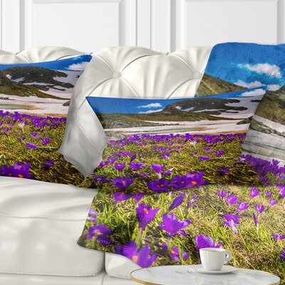 Blooming Crocus Flowers in Rila Mountains Landscape Printed Pillow Size: 12 x 20, Product Type: Lumbar Pillow