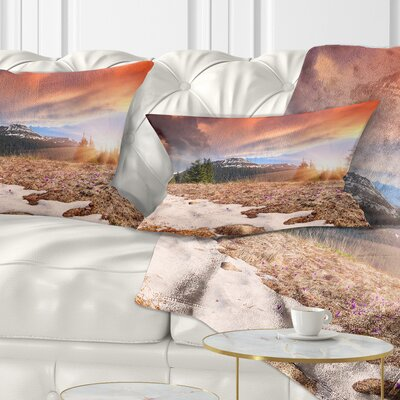 Blooming Crocuses in Mountains Landscape Photography Pillow Size: 12 x 20, Product Type: Lumbar Pillow