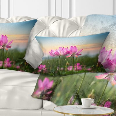 Blooming Lotus Flowers at Sunset Floral Photo Pillow Size: 12 x 20, Product Type: Lumbar Pillow