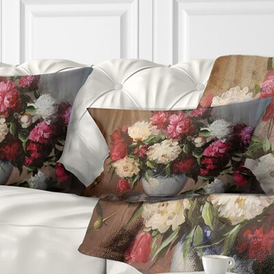 Bouquet of Blooming Peonies Floral Pillow Size: 12 x 20, Product Type: Lumbar pillow