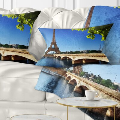 Bridge to Paris Eiffel TowerParis Cityscape Pillow Size: 12 x 20, Product Type: Lumbar Pillow