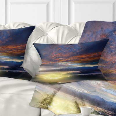 Fiery overcast at Sunrise Landscape Photo Pillow Size: 12 x 20, Product Type: Lumbar Pillow