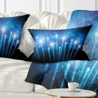 Fireworks at Night Sky Skyline Photography Pillow Size: 12 x 20, Product Type: Lumbar Pillow
