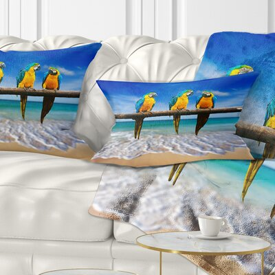 Gold Macaws at Beach Seashore Photo Pillow Size: 12 x 20, Product Type: Lumbar Pillow