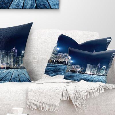 Hong Kong City Skyline Cityscape Pillow Size: 12 x 20, Product Type: Lumbar Pillow