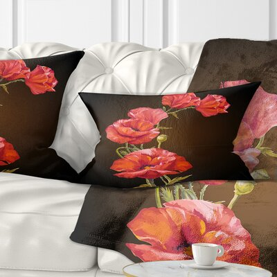 Bright Poppies Flower Floral Pillow Size: 12 x 20, Product Type: Lumbar Pillow
