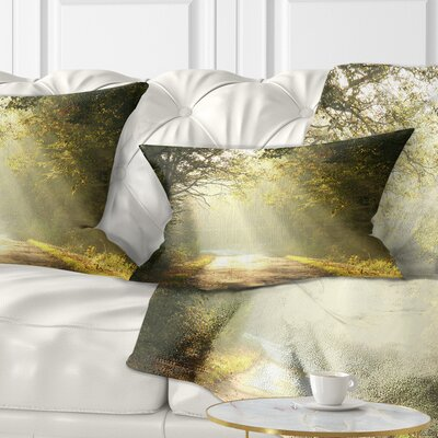 Bright Sunbeams to Fall Forest Landscape Photography Pillow Size: 12 x 20, Product Type: Lumbar Pillow