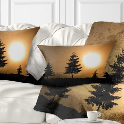 Bright Sunrise Tree Silhouette Landscape Printed Pillow Size: 12 x 20, Product Type: Lumbar Pillow